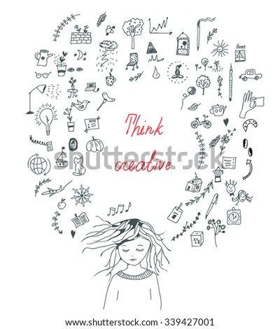 Creative thinking concept with a girl - vector illustration - stock vector