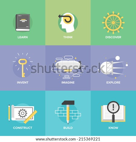 Creative thinking process and study activities, learning new skills and ideas, explore and discovery new things, planning and creating innovation projects. Flat design icons set modern vector concept. - stock vector
