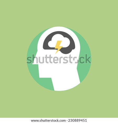 Creative thinking process, brainstorming marketing ideas, daily thoughts and solution imagination. Flat icon modern design style vector illustration concept. - stock vector