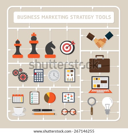 Creative thinking vector flat design model kits for business marketing strategy tools - stock vector