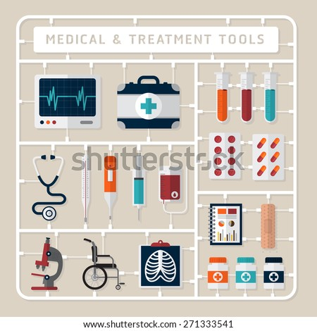 Creative thinking vector flat design model kits for medical and treatment tools - stock vector