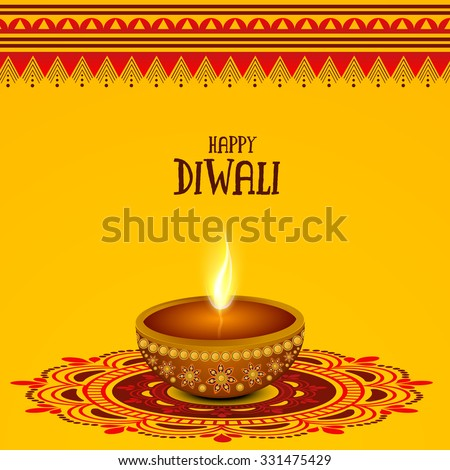 Creative traditional oil lit lamp on beautiful rangoli for Indian Festival of Lights, Happy Diwali celebration. - stock vector