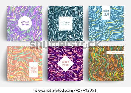 Creative trendy cards set. Wavy stripes, glitch texture. Eps10 vector template. - stock vector