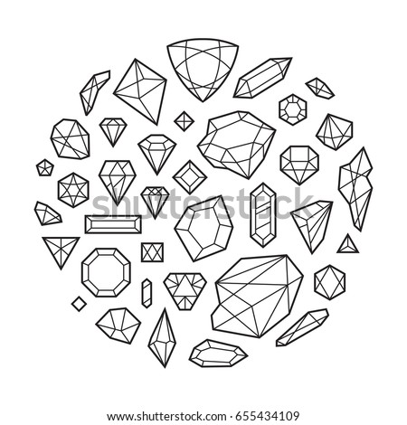 Round gem coloring coloring pages for Gem coloring pages