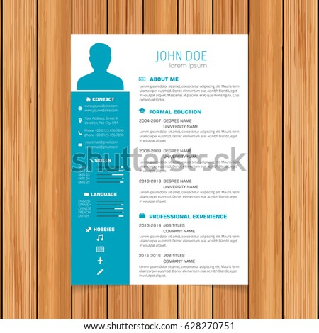 stock vector creative turquoise color resume template white blue colorful free download theme word