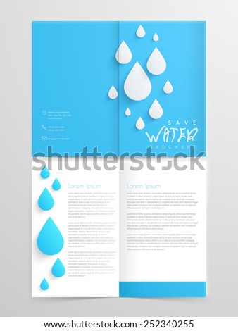 Creative two page brochure, flyer or template design in blue and white color for save water concept. - stock vector