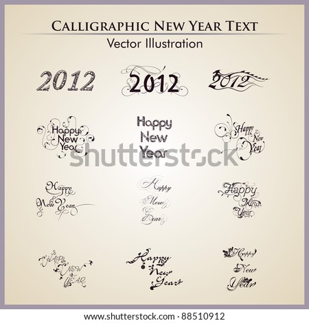 Creative typographic or typography set in twelve artistic style for happy new year - stock vector