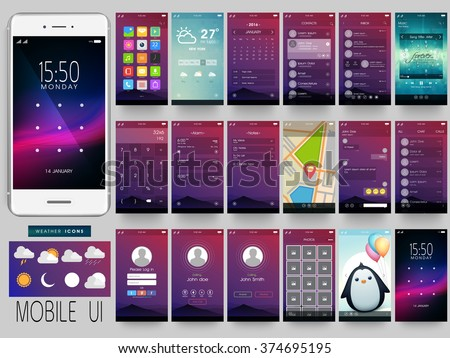 Creative UI, UX, GUI Screens for mobile apps and responsive website including Menu, Weather, calendar, Contacts, Music, Calculator, Map, Chat, Login, Calling, Picture Gallery and Lock Screens. - stock vector