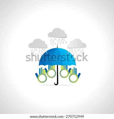 creative umbrella protecting with rain hands vector illustration - stock vector