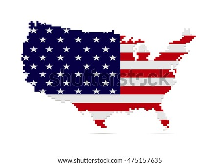 Creative USA map with pixeled edge vector illustration. American patriotic poster.