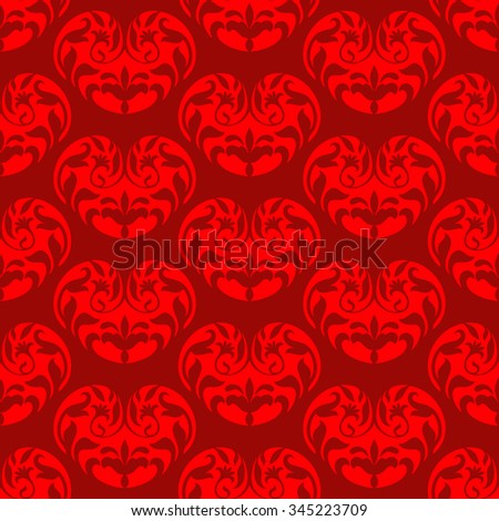 Creative valentines day background, ornamental hearts, seamless pattern, cute fabric, wedding decorations elements with rich ornaments for design. - stock vector