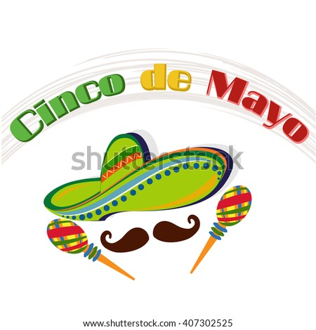 creative vector abstract for Cinco De Mayo with nice maracas, mustache  and sombrero illustration in a crisp white colored background.