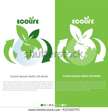 creative vector abstract for Eco Life with  white and green background.