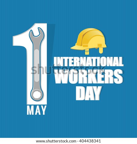creative vector abstract for 1st May International Workers Day with creative presentation of helmet and wrench in a textured blue background. - stock vector