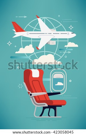 Creative vector airline travel, business trip, vacation journey concept illustration with cabin seat and window, airliner jet plane and world globe linear icon. Travel background. Airway trip - stock vector
