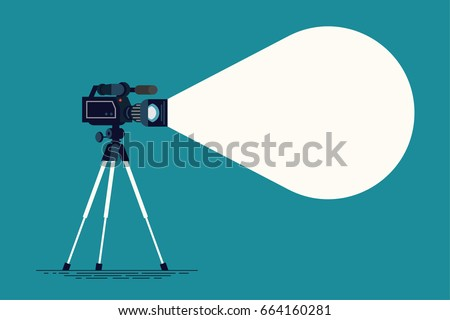 Creative vector background with camera on tripod and decorative empty text container. Ideal for journalism, video recording or film making themed graphic or web design