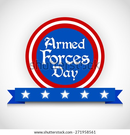 Creative vector blue colour badge with red colour outlined for Armed Forces Day with multiple star in a white gradient colour background. - stock vector
