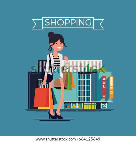 Creative vector concept design on 'Shopping' featuring Adult young woman shopper standing with various paper bags in front of shopping mall