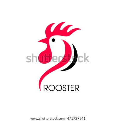 Creative vector design concept. Red rooster. Logo company.