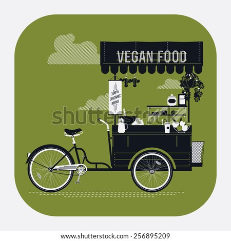 Creative vector detailed web icon on vegan food with retro looking vending bicycle cart with awning, refreshments, bowls, bottles, wooden crate on rear rack and more | Mobile cafe illustration - stock vector
