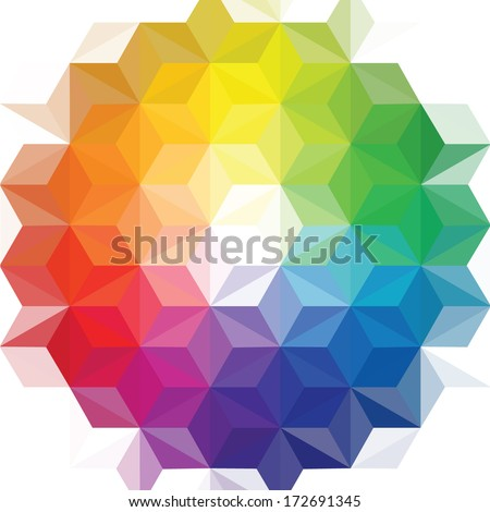 Creative Vector Geometric Patterns Background Triangle Color Wheel