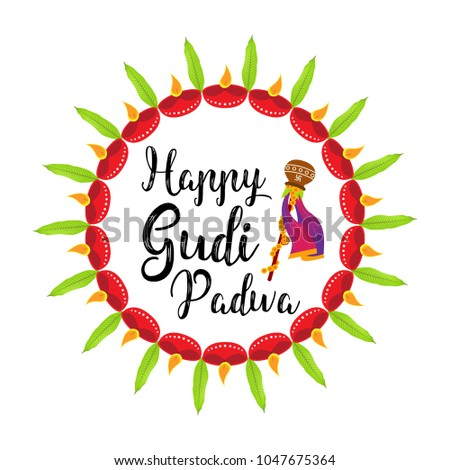 creative vector illustration for gudi padwa hindu lunar new year celebrated by people of