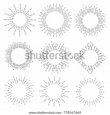 Creative vector illustration of geometric hand drawn sun beams isolated on background. Art design linear sunlight waves, shining lines ray stars. Abstract concept graphic round or circle form element.