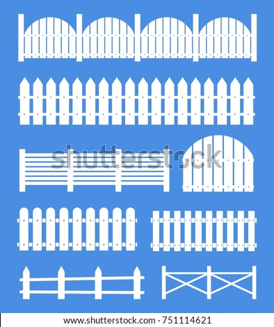 Creative vector illustration of rural wooden fences, pickets isolated on background. Art design. Garden silhouettes wall. Abstract concept graphic element.