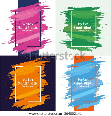 creative vector illustration set of frames with stains watercolor design elements - stock vector
