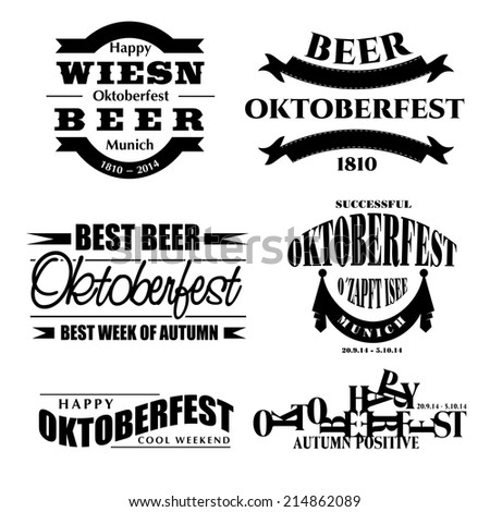 creative vector illustration set of labels, badges and design elements on the Oktoberfest beer festival - stock vector