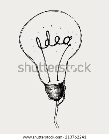 Creative vector light bulb icon with concept of idea. Doodle hand drawn sign.  - stock vector