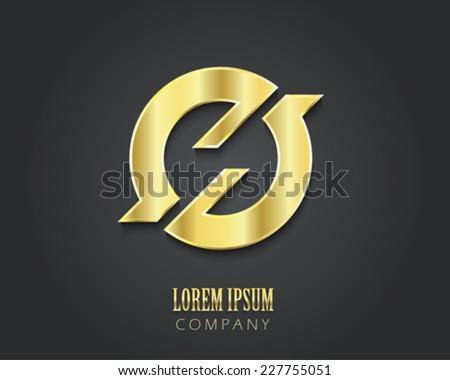 Creative vector logo design template. Golden symbol - stock vector