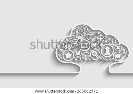 Creative vector of cloud with apps. Background for your design - stock vector