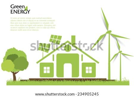 Creative vector renewable energy concept. Wind turbines, solar energy - stock vector