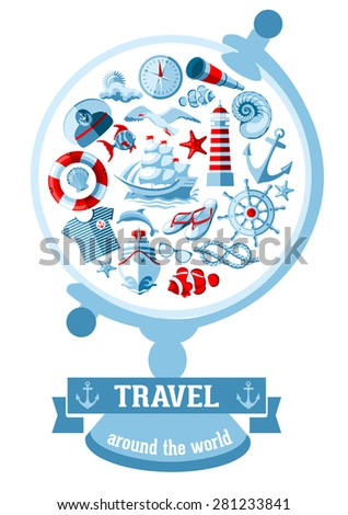 Creative vector round composition of Nautical and marine icons in flat style.  - stock vector