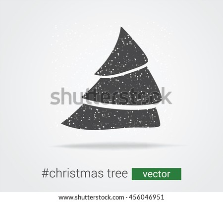 Creative vector tree with snow and falling snowflakes. Abstract Christmas tree with snow - stock vector