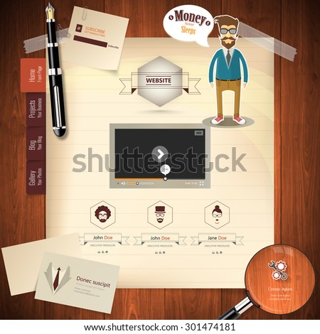 Creative Vintage Website Template Vector Eps 10 - stock vector