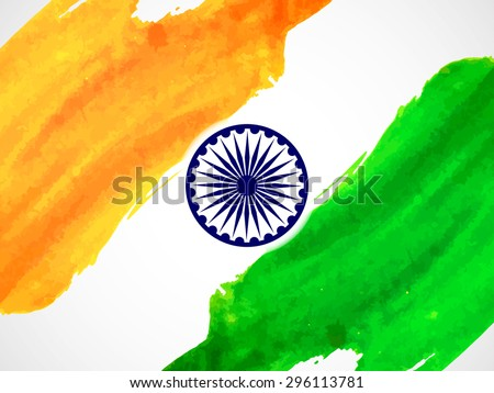 Creative watercolor style Indian flag design for Indian Republic day and Independence Day. - stock vector