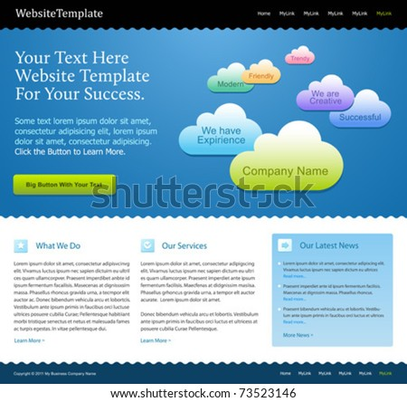 creative web site design template with colorful clouds - stock vector