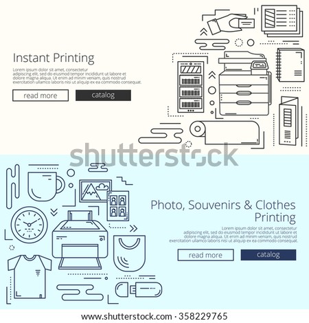 Creative web templates set for print shop site. Minimalistic linear concept, icons collection. Set of banners or scrolls for web pages and apps. - stock vector