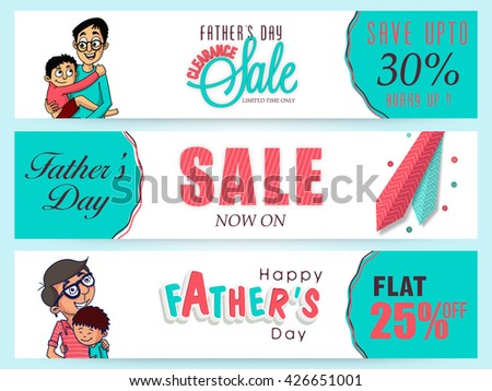 Creative website header or banner set, Clearance Sale with Flat Discount Offer, Vector illustration of cute boy hugging his father for Happy Father's Day celebration. - stock vector