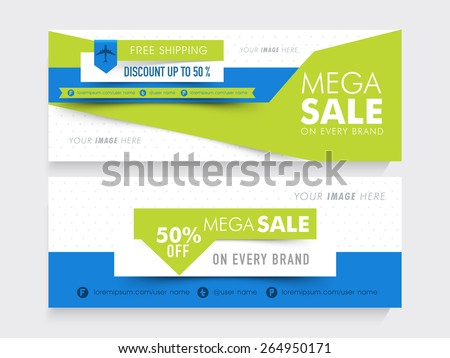 Creative website header or banner set of Mega Sale with free shipping and 50% discount offer. - stock vector