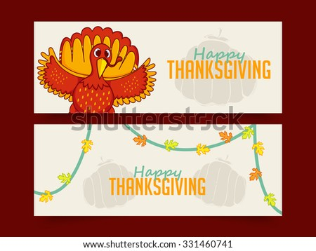 Creative website header or banner set with cute Turkey Bird for Happy Thanksgiving Day celebration. - stock vector