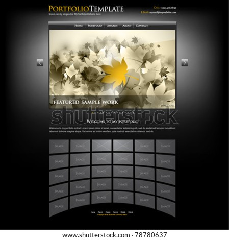 creative website portfolio template for designers and photographers - editable - stock vector