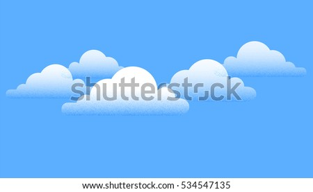 Creative white clouds over blue sky background. Vector Illustration.