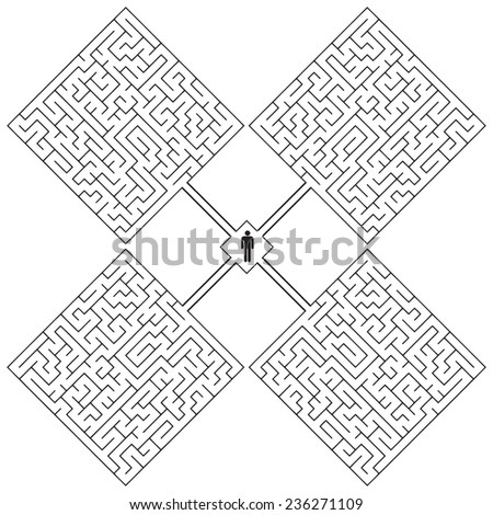 Creative with a maze on the theme - a hopeless situation. Vector illustration. - stock vector