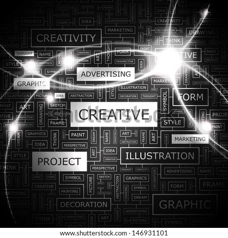 CREATIVE. Word cloud concept illustration. Graphic tag collection. Wordcloud collage with related tags and terms.