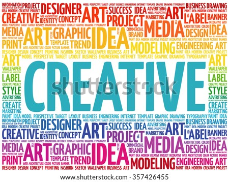 CREATIVE word cloud, creative business concept background - stock vector