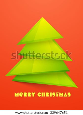 Creative Xmas Tree on shiny background for Merry Christmas celebration.