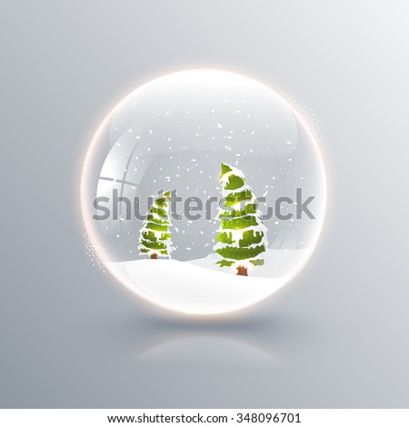 Creative Xmas Trees in glossy snow dome for Merry Christmas celebration. - stock vector